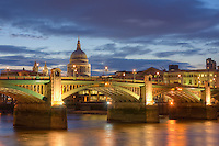 Southwark Bridge - river thames at night in london england by christopher holt