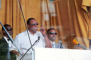 New York, NY-August 13-  Hon. Louis Farrakhan speaks at the Millions March in Harlem with keynote speaker Hon. Louis Farrakhan held at the corner of West 110th and Lenox Avenue in Harlem on August 13, 2011 in New York City. Photo Credit: Terrence Jennings
