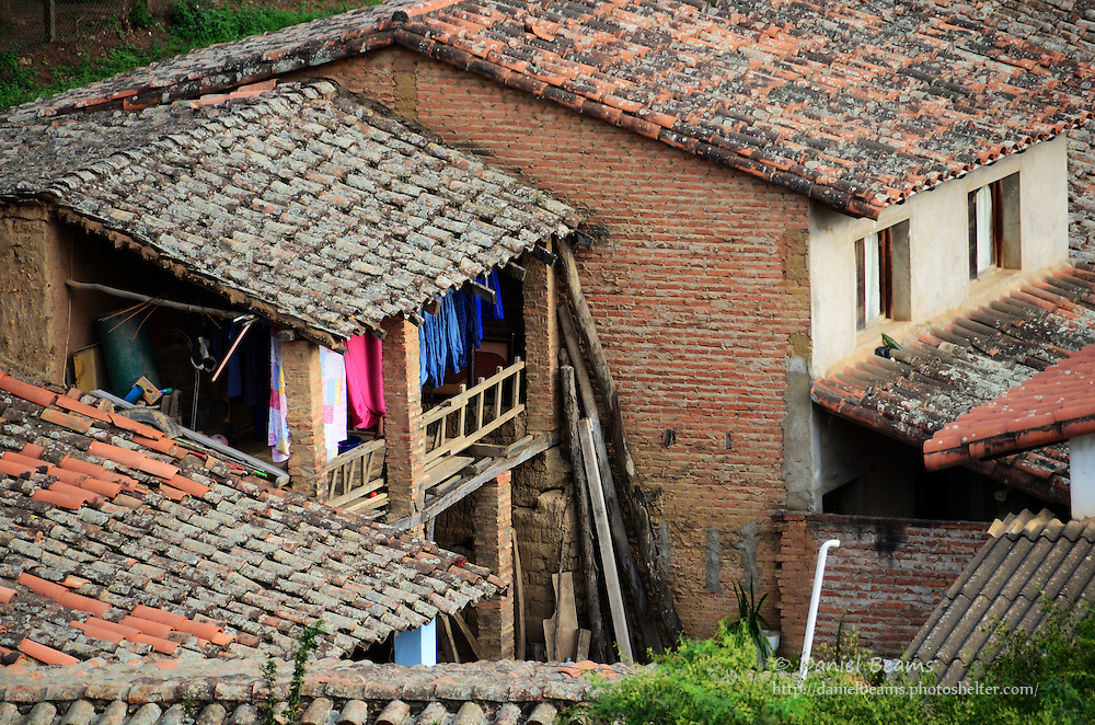 Houses with clay tile roofs in Samaipata, Santa Cruz, Bolivia