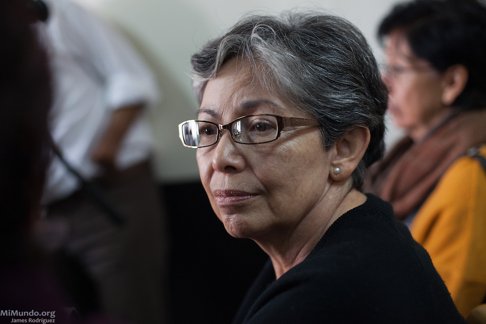 Human Rights activist Ana Lucrecia Molina Theissen attends the arraignment of four former high ranking military officers connected with the October 6, 1981, forced disappearance of her 14-year-old brother Marco Antonio Molina Theissen. Guatemala City, Guatemala. January 11, 2016.