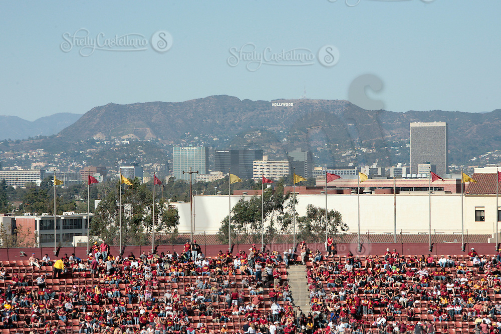 11 October 2008: NCAA Pac-10 USC Trojans 28-0 shut-out win over the Arizona State University Sun Devils during a day college football game at the Los Angeles Memorial Coliseum in Southern California. Overview of the stadium with the famous Hollywood landmark sign in the hills overlooking Los Angeles.