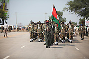 Soldiers run through a rehearsal of independence ceremonies at the Garang Masoleum on July 5, just four days before the country will officially come into existence..