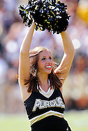 WEST LAFAYETTE, IN - SEPTEMBER 15:  A Purdue University cheerleader cheers during action against the Eastern Michigan Eagles at Ross-Ade Stadium on September 15, 2012 in West Lafayette, Indiana. (Photo by Michael Hickey/Getty Images)