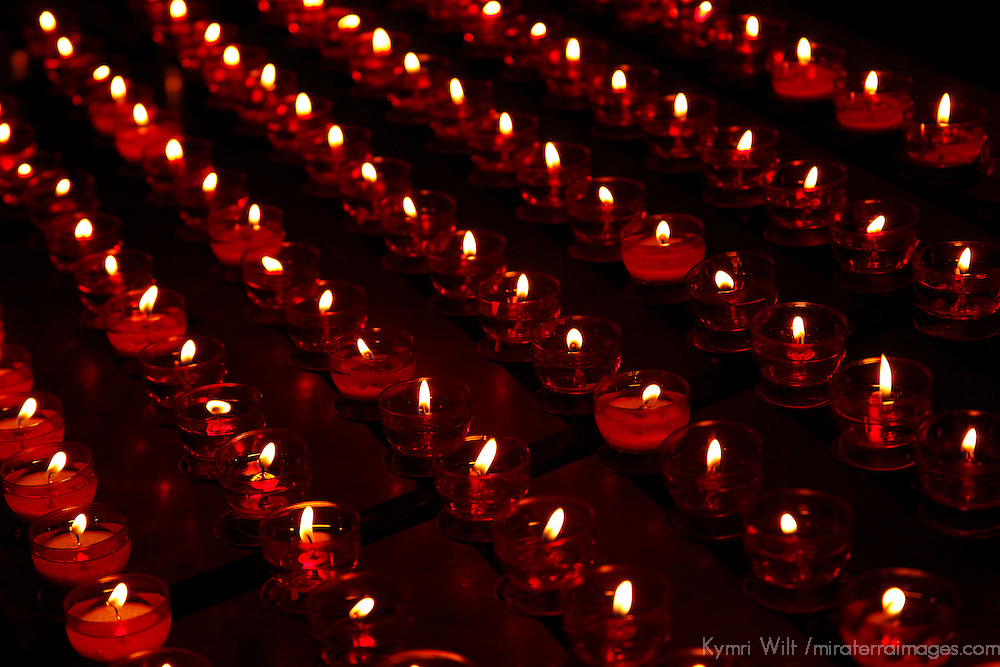 Europe, Belgium, Brugges. Candles in the Basilica of the Holy Blood.