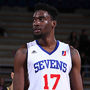 Delaware 87ers Forward Norvel Pelle (17) seen on the floor in the second half of a NBA D-league regular season basketball game between the Delaware 87ers and the Erie BayHawk (Orlando Magic) Friday, Mar. 20, 2015 at The Bob Carpenter Sports Convocation Center in Newark, DEL.