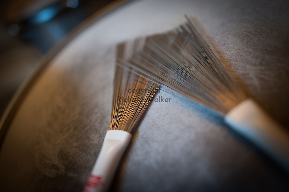2015 August 15 - Brushes on a snare drum, Seattle, WA, USA. By Richard Walker
