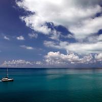 Bermuda. Boat on the beautiful seas surrounding Bermuda in the Atlantic.
