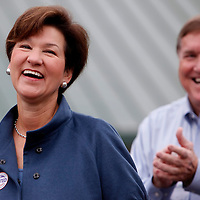 THONOTOSASSA, FL -- November 2, 2010 -- Democratic candidate for governor Alex Sink laughs with her husband, Bill McBride, after casting her vote at her hometown polling place in Thonotasassa, Fla., on Mid Term Election Day on Tuesday, November 2, 2010.  Sink is running a tight race against Republican Rick Scott.