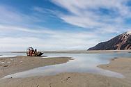 Air boat on tidal flats in Copper River  Delta in Southcentral Alaska. Spring. Morning.