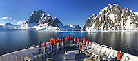 National Geographic Explorer cruising through the Lemaire Channel in Antarctica.