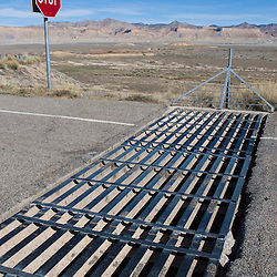 To protect the free range cattle wandering the area, all interstate access roads have these cattle guards installed to prevent any stray cows from entering the highway.
