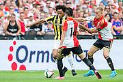 ROTTERDAM - Feyenoord - Vitesse , Voetbal , Seizoen 2015/2016 , Eredivisie , De Kuip , 23-08-2015 , Vitesse speler Izzy Brown (l) in duel met Speler van Feyenoord Rick Karsdorp (r) en Bilal Basaçikoglu (m)
