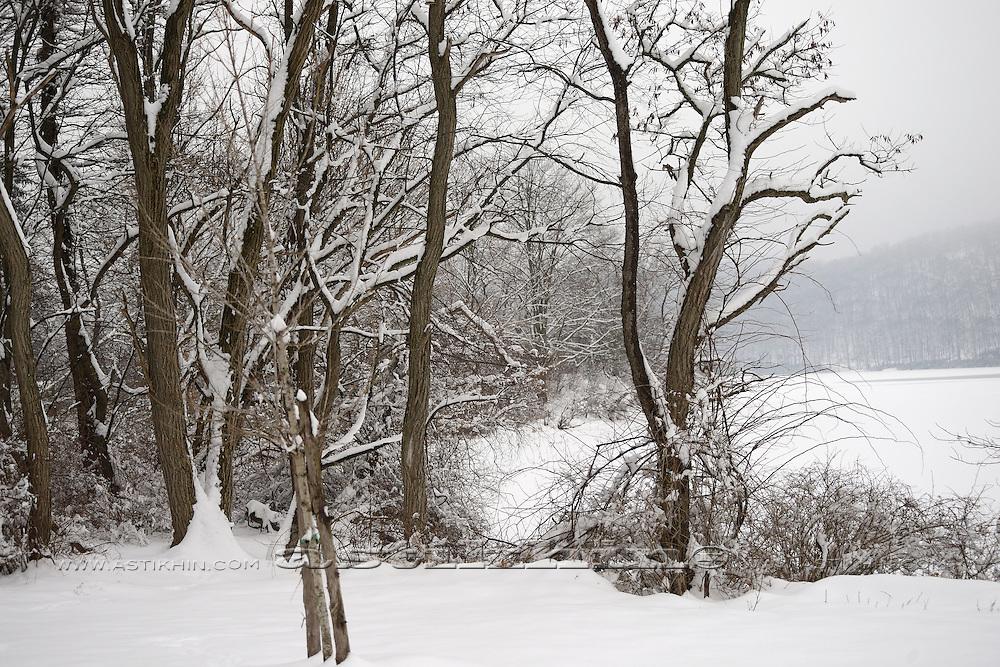 Winter landscape in New York.