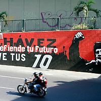 A group of images of the Venezuelan president, Hugo Chavez and the bolivarian revolution