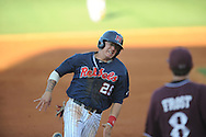 Ole Miss Andrew Mistone rounds third to score against Mississippi State at Oxford-University Stadium in Oxford, Miss. on Saturday, May 11, 2013. Ole Miss won 10-8 in the second game of a doubleheader..