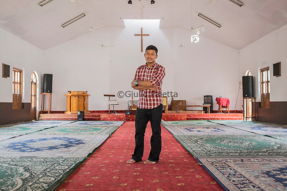 Dinesh Shrestha, 24 years old, assistant pastor at Putali Sadak church, built in the 1953, the second oldest church in Nepal