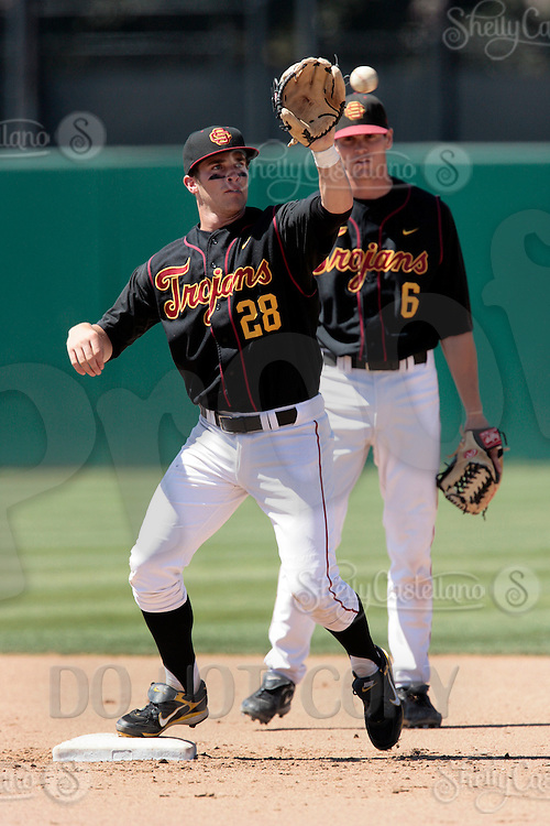 28 March 2009: Infielder #28 Ashton Kent of the USC Trojans Baseball team during a 10-1 loss to Arizona State Sun Devils at Dedeaux Field in Los Angeles.