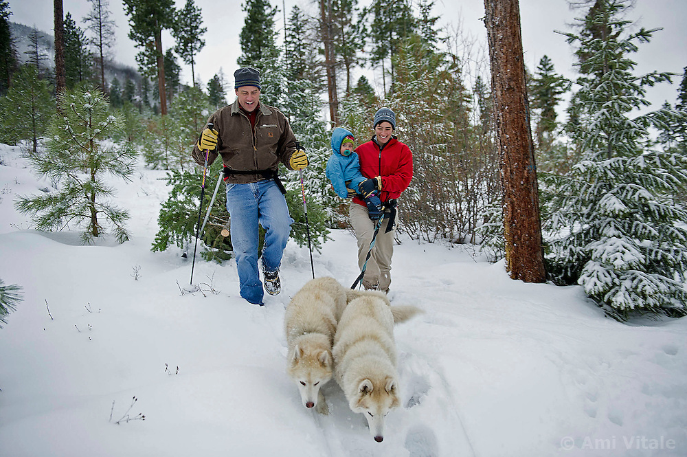 Grant Kier and Rebecca Bendick look for a Christmas tree with their daughter Fiona and dogs in MIssoula, Montana December 19, 2010. (Photo by Ami Vitale)