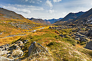 The red of bog blueberry (Vaccinium uliginosum) leaves and other colors carpet the alpine slopes in late autumn along Archangel Creek in Archangel Valley in the Talkeetna Mountains of Hatcher Pass in Southcentral Alaska. Afternoon.