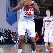 Grand Rapids Drive Center Hasheem Thabeet (34) attempts a free throw in second half of a NBA D-league regular season basketball game between the Delaware 87ers and the Grand Rapids Drive (Detroit Pistons) Saturday, Apr. 04, 2015 at The Bob Carpenter Sports Convocation Center in Newark, DEL.