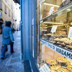 Bergamo, Italy - Pasticceria Nessi pastry shop in the historical centre of Bergamo Alta, Upper Bergamo.