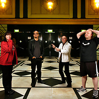 UK. London. The Pixies pose for photographs at The Brixton Academy, London, during their UK tour. From left: Dave Lovering, Kim Deal, Black Francis and Joey Santiago..Photo©Steve Forrest/Workers' Photos