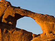 Skyline Arch eroded within the Slick Rock member of Entrada Sandstone in Arches National Park, Utah, USA