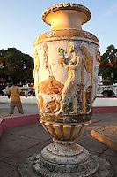 Vigan Burgos Plaza Vase - as the best preserved Spanish colonial town in the Philippines Vigan is well known for its cobblestone streets and  unique architecture that fuses Philippine and Chinese design with Spanish colonial architecture.