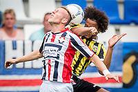 TILBURG - Willem II - Vitesse , Voetbal , Seizoen 2015/2016 , Eredivisie , Koning Willem II Stadion , 09-08-2015 , Willem II speler Dico Koppers (l) in duel met Vitesse speler Izzy Brown (r)