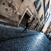 Quiet morning walk from Piazza Navona, Rome, Italy