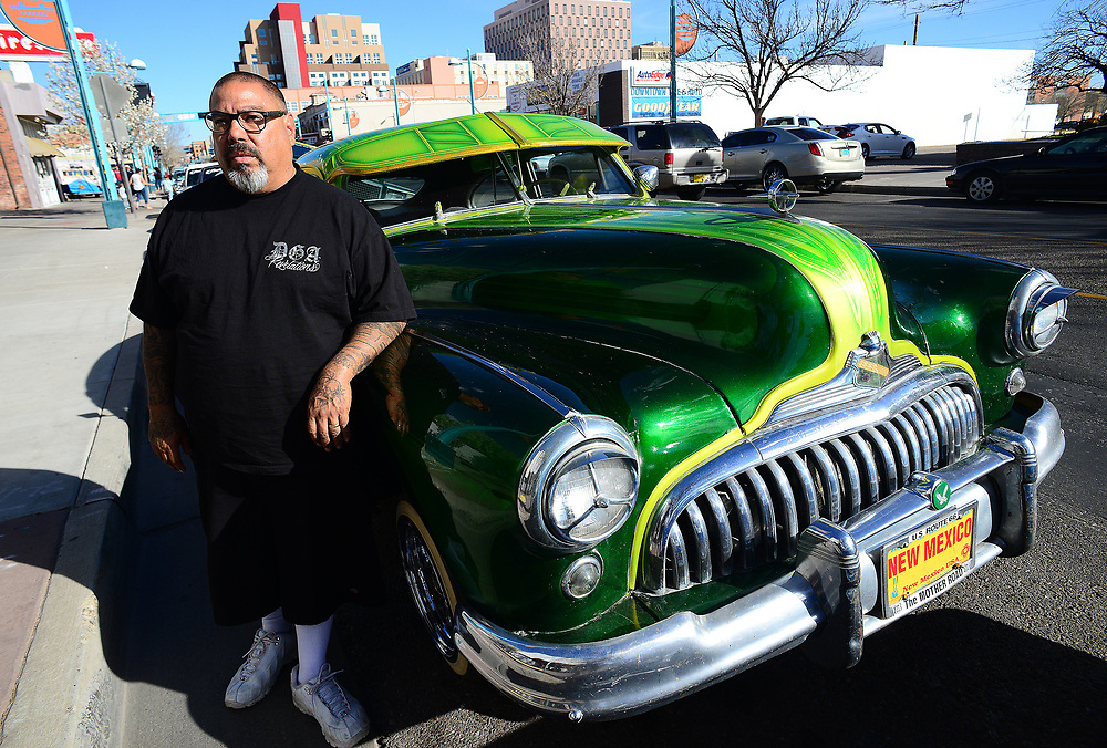 apl031217n/LIVING/pierre-louis/JOURNAL 031217<br /> Manuel Saavedra,, stands next to his 1947 Buick &quot;Bomba&quot;  . Photographed  on Sunday March 12, 2017. .Adolphe Pierre-Louis/JOURNAL