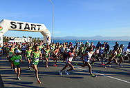 MOSSEL BAY, SOUTH AFRICA - SEPTEMBER 24: athletes at the start during the PetroSA Marathon finishing at Santos Caravan Park on September 24, 2016 in Mossel Bay, South Africa. (Photo by Roger Sedres/Gallo Images)