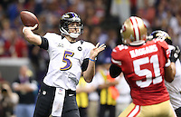 Joe Flacco (5) of the Baltimore Ravens in action against the San Francisco 49ers during the NFL Super Bowl XLVII football game in New Orleans on Feb. 3, 2013. The Ravens won the game, 34-31.  (Photo by Jed Jacobsohn)
