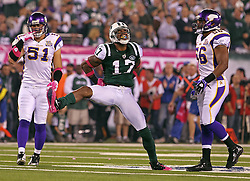 Oct 11, 2010; East Rutherford, NJ, USA; New York Jets wide receiver Braylon Edwards (17) celebrates a catch during the first half of their game against the Minnesota Vikings at the New Meadowlands Stadium.