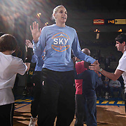 Chicago Sky Forward ELENA DELLE DONNE (11) takes the floor for warm ups prior to a WNBA preseason basketball game between the Chicago Sky and the New York Liberty Sunday, May. 01, 2016 at The Bob Carpenter Sports Convocation Center in Newark, DEL