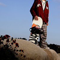 "Luke Mitrani photographed for Sports Illustrated's ""Where Will They Be"" feature in Encinitas, California on June 19,2006. Mitrani, a snowboarder from a beach town, had major endorsements by age eight..."