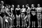 The lineup before auditions begin. The older girls stand in order of their height, receive their audition numbers and talk nervously before dancing for the directors. 8/16/14