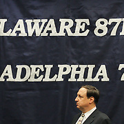 NBA Development League President Dan Reed (Left) addresses the media during a news conference to announce the creation of a new NBA D-League franchise The Delaware 87ers Saturday. April 27, 2013,  at The Bob Carpenter Center in Newark, Del..The Philadelphia 76ers new NBA D-League franchise will relocate from Utah to Delaware and commence play to this coming autumn for the 2013-14 NBA D-League season...Also pictured is Philadelphia Sixers CEO Adam Aron (Right)...(AP Photo/Saquan Stimpson)