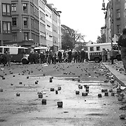 Every year on May Day in Berlin there are fights between the various left group with the police. Every year the police disperse the crowds with water tanks as often attacked with rocks or whatever at hand. Berlin, Germany.