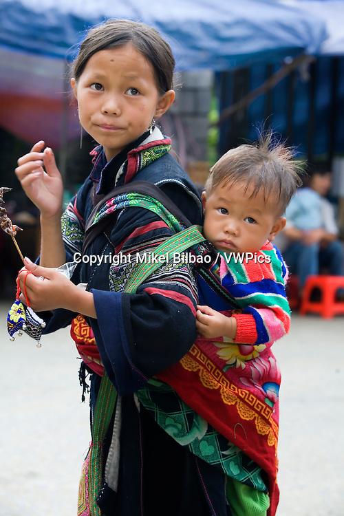black hmong ethnic girls.<br /> Sapa, Lao Cai province, Vietnam.