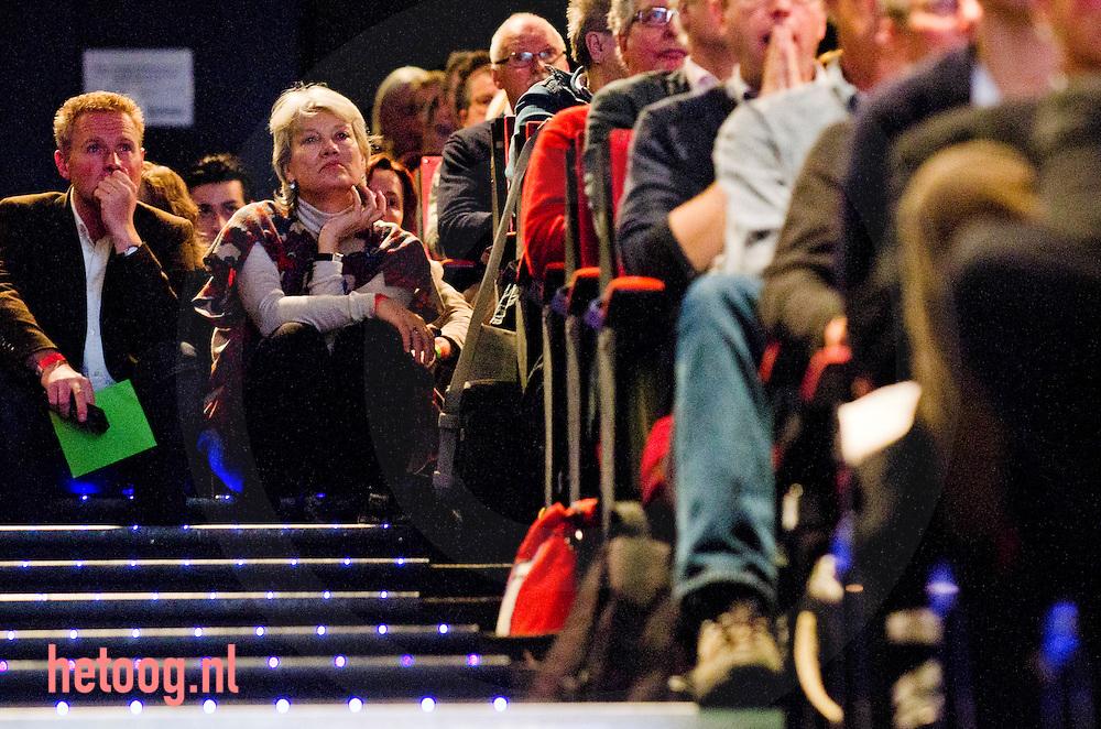 nedrland,utrecht 05feb2011 Andree van Es ex PSP op het congres van groen links in utrecht met moties en stemmingen over de politie missie naar afghanistan en het bepalen van de lijst voor de eerste kamer