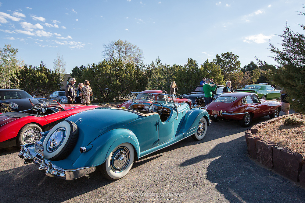 The beautiful 1950 Riley Roadster in the foreground, awaiting the start of the 2012 Santa Fe Concorso High Mountain Tour.