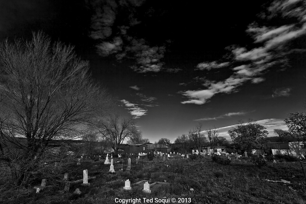 """Winter in New Mexico..The church graveyard which photographer Ansel Adams made famous in his iconic photograph """"Moonrise Over Hernandez."""""""