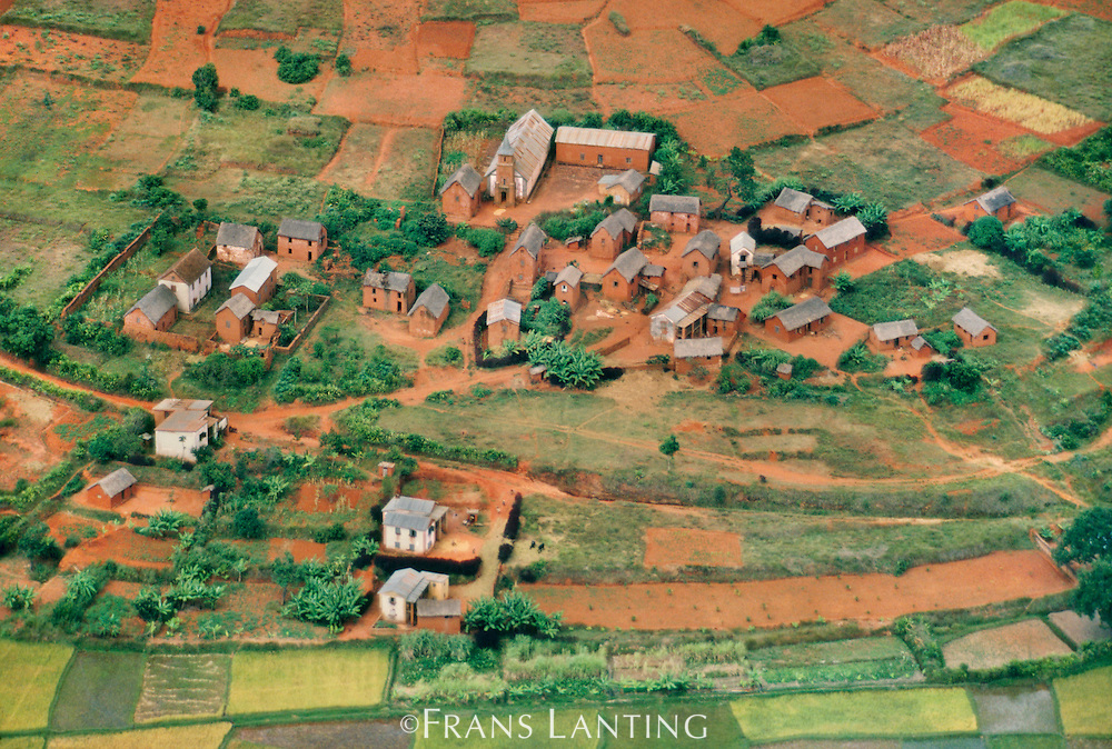 Merina village near Antananarivo (aerial), Central Madagascar
