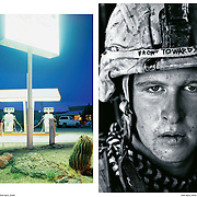 """Sunday Times Magazine Spectrum with photo of U.S. Marine Damon """"Commie"""" Connell in Helmand, Afghanistan by Louie Palu (right) alongside photo by Seba Curtis (left) who would later in 2009 appear together in the New York Photo Festival."""
