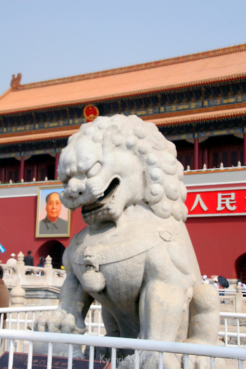 Asia, China, Beijing. Fu Dog guards the temples of the Forbidden Palace in Beijing.