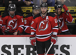 May 3, 2012; Newark, NJ, USA;  New Jersey Devils left wing Ilya Kovalchuk (17) relaxes during a break in the action during the second period in game three of the 2012 Eastern Conference semifinals at the Prudential Center.