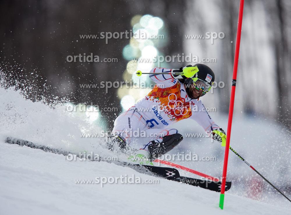 14.02.2014, Rosa Khutor Alpine Center, Krasnaya Polyana, RUS, Sochi 2014, Super- Kombination, Herren, Slalom, im Bild Martin Vrablik (CZE) // Martin Vrablik of Czech Republic in action during the Slalom of the mens Super Combined of the Olympic Winter Games 'Sochi 2014' at the Rosa Khutor Alpine Center in Krasnaya Polyana, Russia on 2014/02/14. EXPA Pictures © 2014, PhotoCredit: EXPA/ Johann Groder