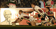 Twickenham, Surrey, ENGLAND, 29.04.2006,  Giants James Evans dives to touch the ball down in the corner for a second half try during the  Round 12 Super League match, Quins RL vs Huddersfield, at The Stoop,  © Peter Spurrier/Intersport-images.com, Rugby League..