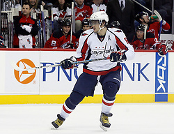 December 7, 2007; Newark, NJ, USA;  Washington Capitals left wing Alexander Ovechkin (8) skates against the New Jersey Devils during the 3rd period at the Prudential Center in Newark, NJ.  The Devils won 3-2, their ninth win in a row.